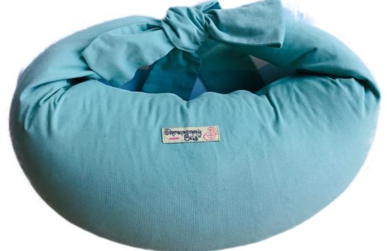 Breastfeeding Pillow in Aqua Corduroy