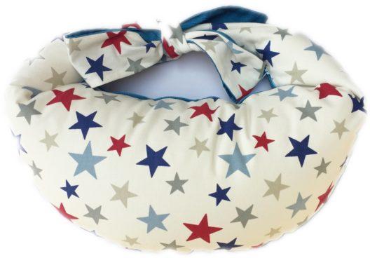 Breastfeeding Pillow Classic - Stars Teal Blue